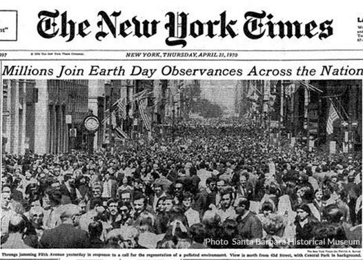 Cover of the New York Times from the first Earth Day
